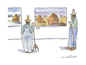 Two farmers with pitchforks look at Monet haystack paintings in a gallery. - New Yorker Cartoon by Michael Crawford