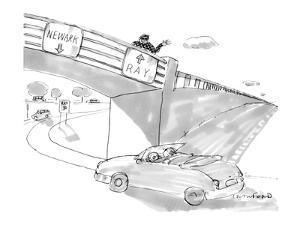 Two road signs on an overpass. One points to 'Newark' and the other points? - New Yorker Cartoon by Michael Crawford