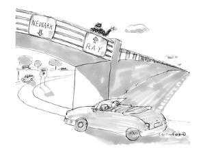 Two road signs on an overpass. One points to 'Newark' and the other points… - New Yorker Cartoon by Michael Crawford