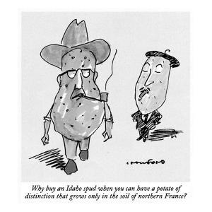 Why buy an Idaho spud when you can have a potato of distinction that grows… - New Yorker Cartoon by Michael Crawford
