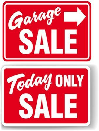 Garage Arrow Today ONLY SALE Red Signs Drop Shadow or White Border by Michael Darcy Brown