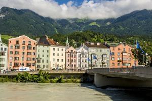 Alte Innsbruck or Old Inn Bridge over the Danube River, Old Town, Innsbruck, Tyrol, Austria. by Michael DeFreitas