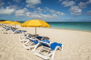 Beach umbrellas on Grace Bay Beach, Providenciales, Turks and Caicos Islands, Caribbean. by Michael DeFreitas