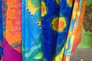 Cook Islands, Rarotonga. Batik cloth Punanga Nui Cultural market. by Michael DeFreitas