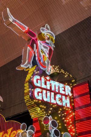 Cowgirl Glitter Gulch Neon Sign by Michael DeFreitas
