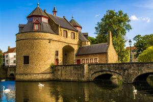 Ezelpoort or Donkey's gate, fortified gate, Bruges, West Flanders, Belgium. by Michael DeFreitas