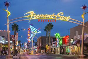 Fremont Street and Neon Sign, Las Vegas, Nevada by Michael DeFreitas