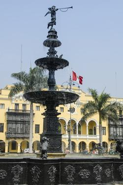 Municipal Palace of Lima and Fountain, Plaza De Armas, Lima, Peru, South America by Michael DeFreitas