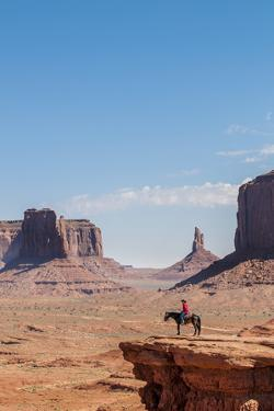 Navajo Man on Horseback, Monument Valley Navajo Tribal Park, Monument Valley, Utah by Michael DeFreitas