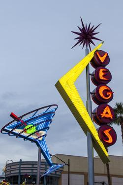 Oscar's Neon Martini Glass and Vegas Neon Signs by Michael DeFreitas