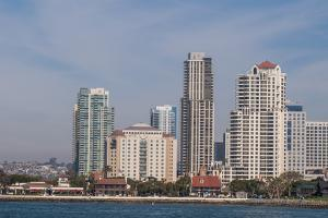 San Diego skyline and harbor, San Diego, California. by Michael DeFreitas