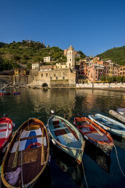 Santa Margheritte de Antiochia church and harbor, Vernazza, Cinque Terre, Italy. by Michael DeFreitas