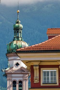 Servite Church clock tower, Old Town, Innsbruck, Tyrol, Austria. by Michael DeFreitas