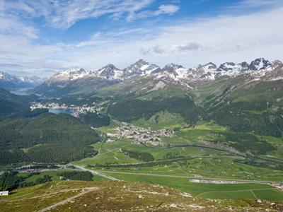 View of Celerina and St. Moritz From Top of Muottas Muragl, Switzerland, Europe by Michael DeFreitas