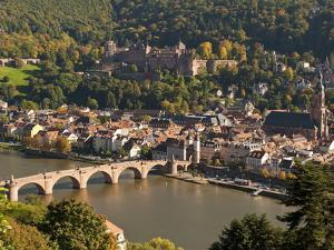 View of the Alte Brucke (Old Bridge), Neckar River Heidelberg Castle and Old Town from the Philosop by Michael DeFreitas