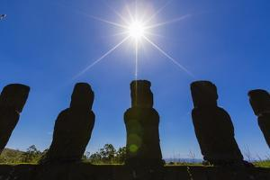 Detail of Moai Looking into the Sun at Ahu Akivi by Michael
