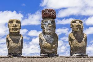 Details of Moai at the 15 Moai Restored Ceremonial Site of Ahu Tongariki by Michael