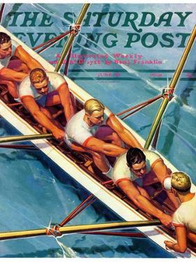 """Scullers,"" Saturday Evening Post Cover, June 25, 1938 by Michael Dolas"
