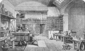 Michael Faraday, English Scientist at Work in His Laboratory