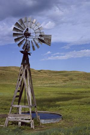 Windmill and Cattle Tank on the Prairie by Michael Forsberg