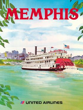 Memphis, Tennessee - United Airlines - Mississippi River Paddlewheel Boat by Michael Hagel