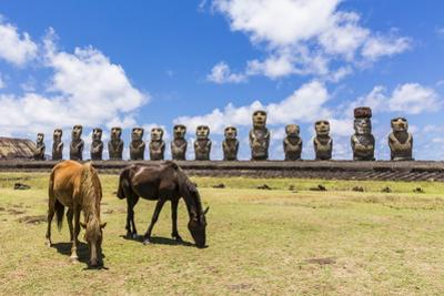 Horses Grazing at the 15 Moai Restored Ceremonial Site of Ahu Tongariki by Michael