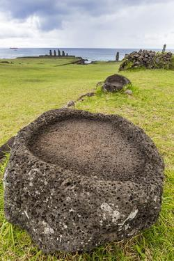 House Foundation and Seven Moai in the Tahai Archaeological Zone by Michael