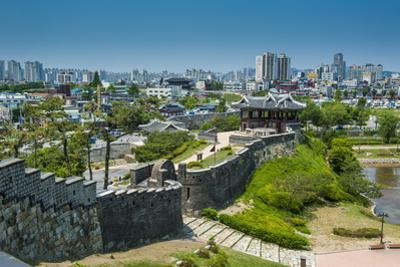 Huge Stone Walls the Fortress of Suwon, UNESCO World Heritage Site, South Korea, Asia by Michael