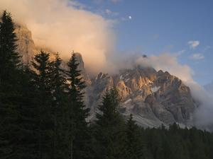 Moon over Cimon della Pala, Val Venegiotta, the Dolomites, Italy by Michael Jaeschke
