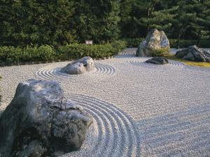 Raked Stone Garden, Taizo-In Temple, Kyoto, Japan by Michael Jenner