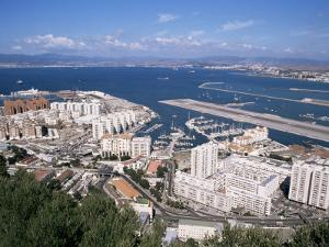 View Over Airport and Europort, Gibraltar, Mediterranean by Michael Jenner
