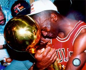 Michael Jordan Game 5 of the 1991 NBA Finals with Championship Trophy