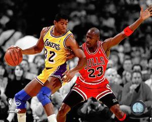 Michael Jordan & Magic Johnson 1990 Spotlight Action