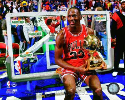 Michael Jordan with the 1987 NBA All Star Slam Dunk Contest Trophy