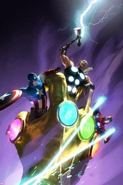 Ultimate Comics Ultimates #25 Cover: Captain America, Thor, Iron Man by Michael Komarck