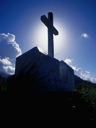 Cross Silhouetted Against Sky, Fort Cachacrou, Soufriere, Dominica by Michael Lawrence