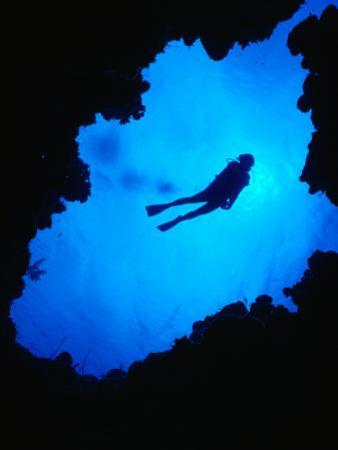 Diving off Limestone Platform into Blue Hole at Bat Cave, Gene's Bay, Bahamas by Michael Lawrence