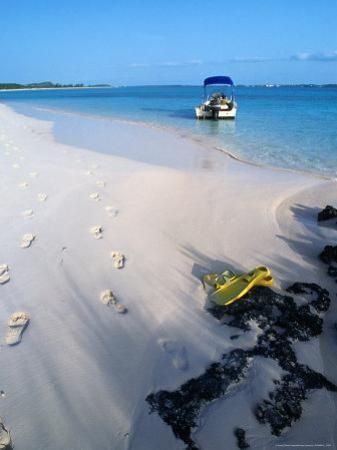Empty Beach with Snorkelling Gear and Sandy Footprints Near Georgetown, George Town, Bahamas by Michael Lawrence