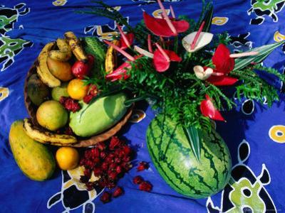 Flowers and Fruits on a Cloth, Castle Comfort, Dominica by Michael Lawrence