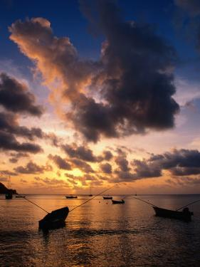 Small Fishing Boats in Water at Sunset, Charlotteville, Trinidad & Tobago by Michael Lawrence