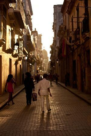 Havana Residents Walk Down Calle Brasil at the End of the Day by Michael Lewis