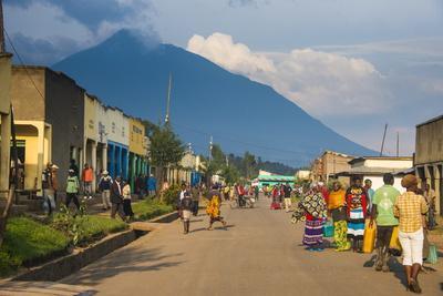 Little Village before the Towering Volcanoes of the Virunga National Park, Rwanda, Africa