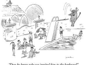 A bison dives off a board into a swimming pool.  - New Yorker Cartoon by Michael Maslin