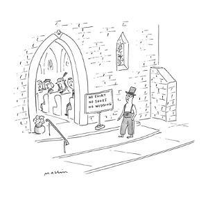 Groom wearing a top hat, pants, suspenders, and no shoes outside church re? - New Yorker Cartoon by Michael Maslin