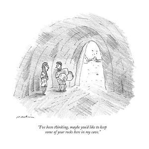 """""""I've been thinking, maybe you'd like to keep some of your rocks here in m?"""" - New Yorker Cartoon by Michael Maslin"""