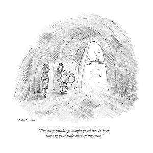 """I've been thinking, maybe you'd like to keep some of your rocks here in m?"" - New Yorker Cartoon by Michael Maslin"