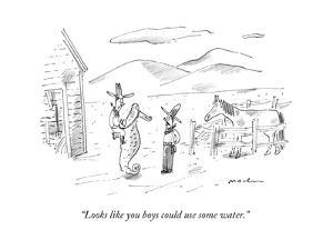 """Looks like you boys could use some water."" - New Yorker Cartoon by Michael Maslin"