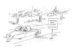 Man and woman driving past road sign that reads, 'Lewinsky-Free Zone Next … - New Yorker Cartoon by Michael Maslin