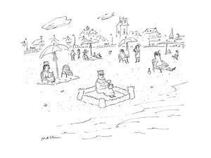 Man wearing a crown sits in a sand castle on the beach. - Cartoon by Michael Maslin