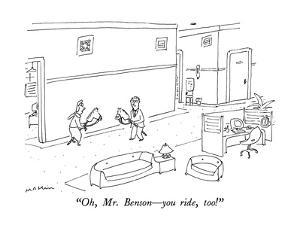 """""""Oh, Mr. Benson—you ride, too!"""" - New Yorker Cartoon by Michael Maslin"""